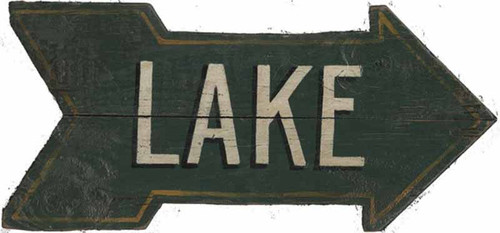 Green Arrow Lake, Red Horse signs, vintage wood art, artist Ben Zaricor