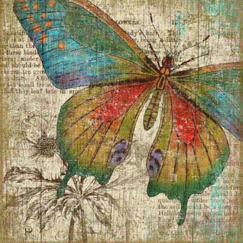 Butterfly Right, Red Horse Signs, vintage art, artist Suzanne Nicoll, colorful print of a red, blue, green, and tan butterfly on distressed wood panel with occasional knots and natural characteristics, panels are made from tongue and groove slats of hemlock, fir, or alder, Made in America