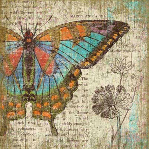 Butterfly Left, Red Horse Signs, vintage art,  artist Suzanne Nicoll, colorful print of a red, blue, green, and tan butterfly on distressed wood panel with occasional knots and natural characteristics, panels are made from tongue and groove slats of hemlock, fir, or alder, Made in America