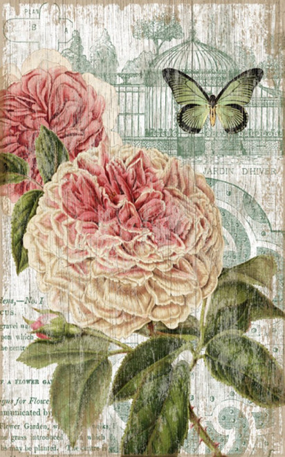Jardin Pink, Red Horse signs, vintage art,  artist Suzanne Nicoll, pink flower, English rose, in full blossom, butterfly print on distressed wood panel that has knots and other natural imperfections, Made in America