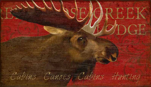 Moose Lodge, Red Horse signs, vintage art by artist Suzanne Nicoll,  moose head on a bright deep red background, image printed on a distressed wood panel with knots and other natural imperfections, panels are made from tongue and groove slats of hemlock, fir, or alder, made in America