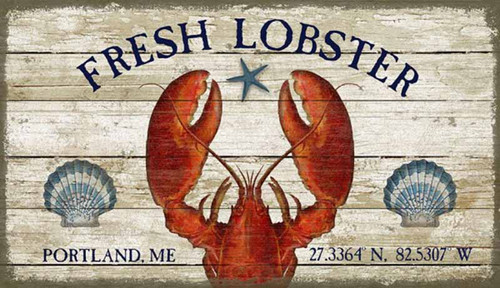 Fresh Lobster, Red Horse signs, vintage art by artist Suzanne Nicoll, stunning image of red lobster, with customizable city name and geographic coordinates, sign on distressed wood panel, made in America