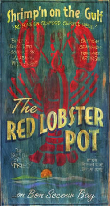 Lobster Pot, Red Horse signs, vintage art on distressed wood panels withe knots and other natural imperfections, Stunning blue background and bright red lobster highlight this vintage print, made in America