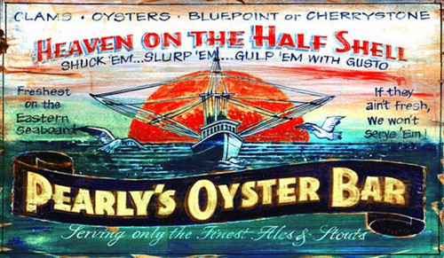 Pearly's Oysters, Red Horse Signs, vintage art on wood panels that have knots and other natural imperfections, oyster boat on blue water against red setting sun, Made in America