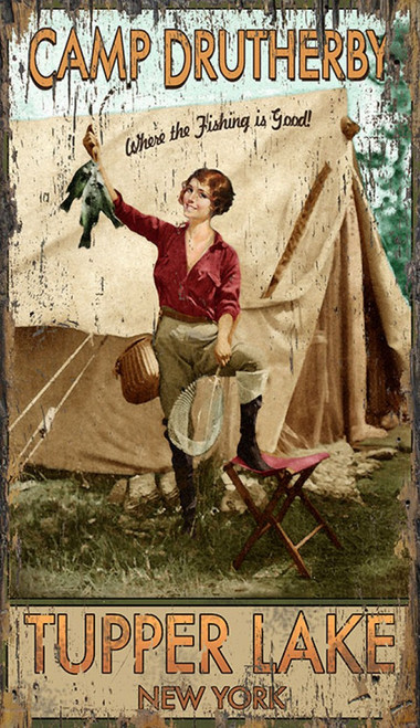 Fishing is Great, Red Horse Signs vintage art, At Camp Druthers, cute brunette in angler's gear shows off her catch of fish