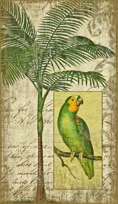 Parrot 2, Red Horse signs, vintage art, artist Suzanne Nicoll, colorful green parrot and palm tree on an off-white background, printed on distressed wood made from tongue and groove slats of hemlock, fir, or alder