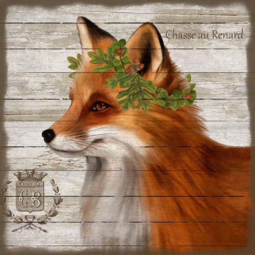"""French Lodge Fox, Red Horse signs, vintage art, artist Suzanne Nicoll, beautiful image of red fox on rustic white background printed on distressed wood, Sign says """"Chasse au Renard"""" meaning Fox Hunt, part of the Pavillin de Chasse collection"""