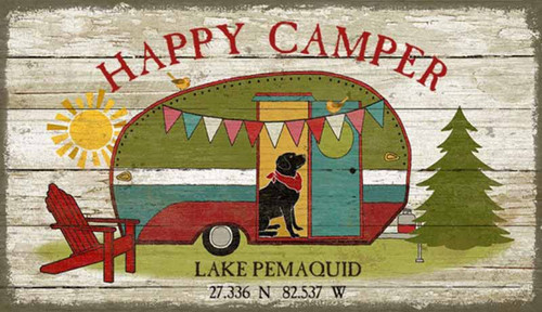Happy Camper, Red Horse Signs, vintage art, artist Suzanne Nicoll, nostalgic print of a 50's camper and black lab, printed on distressed wood panels