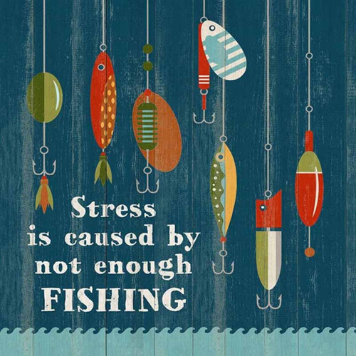 Enough Fishing, Red Horse signs, vintage art, measures 20 inches square, artist Suzanne Nicoll, image of fishing lures on a dark blue background, printed on distressed wood panels