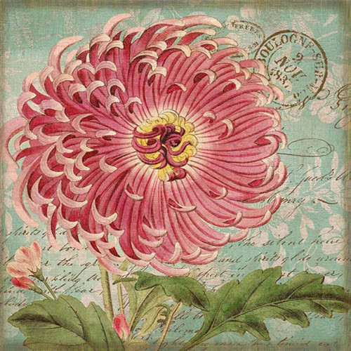 Genevieve II, Red Horse signs, vintage art, artist Suzanne Nicoll, giant pink Peony in full blossom, image printed on distressed wood panel with occasional knots and other natural characteristics, Made in America