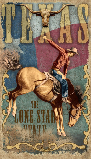 "Lone Star State, Red Horse Signs, vintage art, measures 26 by 15 inches, the Texas flag, a longhorn, horseshoe, and a bucking bronco all grace this poster printed on distressed wood, ""Yee Haw!"" Made in America"