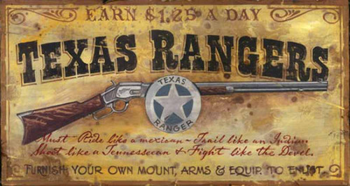 Texas Rangers, Red Horse Signs, vintage art, measures 26 by 15 inches, a rifle, Texas Rangers' badge, a great gift for admirers of Chick Bowdrie and all fans of Louis L'Amour