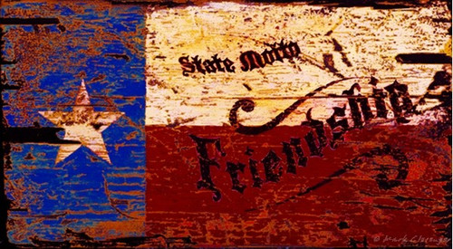 "Texas Friendship, Red Horse Signs, vintage art, measures 26 by 15 inches, Texas Lone Star flag with the word ""friendship"" printed on distressed wood panels, Made in America"