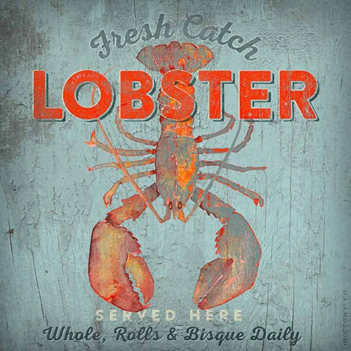 Fresh Catch Lobster, Red Horse Signs, wall decor, artist Anthony Morrow, red lobster on light blue gray background, Made in America
