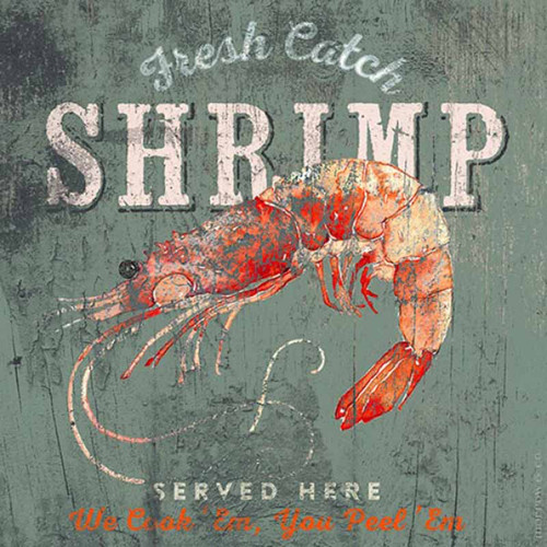Fresh Catch Lobster, Red Horse Signs, wall decor, artist Anthony Morrow, red lobster on light blue gray background, printed on distressed wood, Made in America