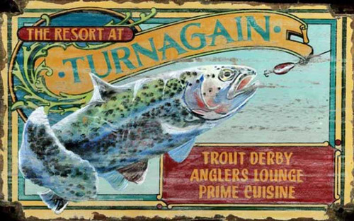 Trout Resort, Red Horse Signs, wall art, print of speckled trout striking a lure at the Turnagain Resort, printed on distressed wood panel, Made in America