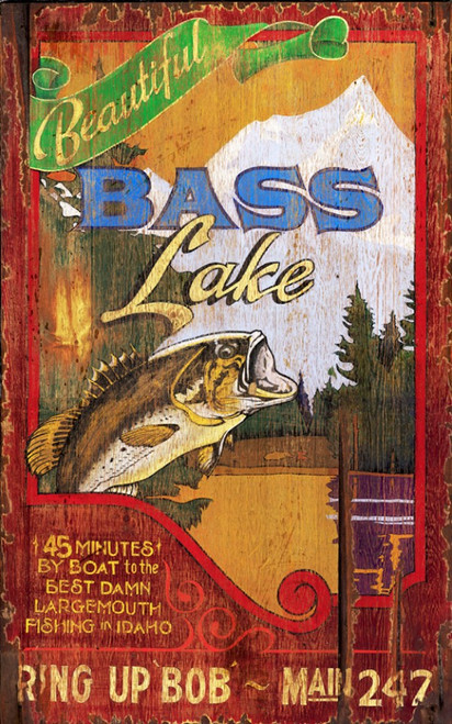 Bass Lake, Red Horse Signs, wall art,  image of a bass fish leaping in a lake, printed on distressed wood, made in America