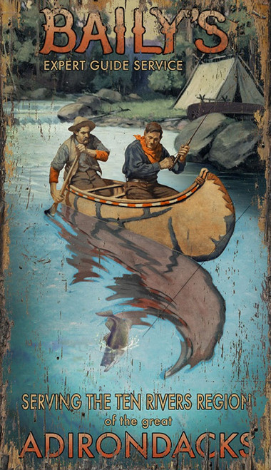 Bailys Guide, Red Horse Signs, wall art, vintage poster of two men canoeing on a river in front of a campground, printed on distressed wood panels