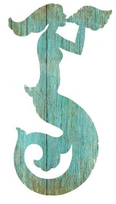 Mermaid Silhouette Aqua Left, cut-out, Red Horse Signs, wall art, image of a light blue mermaid  cut out on distressed wood, Made in America