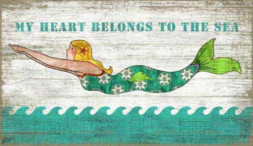 Diving Mermaid, Red Horse Signs, wall art, vintage image of blonde mermaid on white background and aqua ocean, printed on distressed wood board, my heart belongs to the sea, Made in America