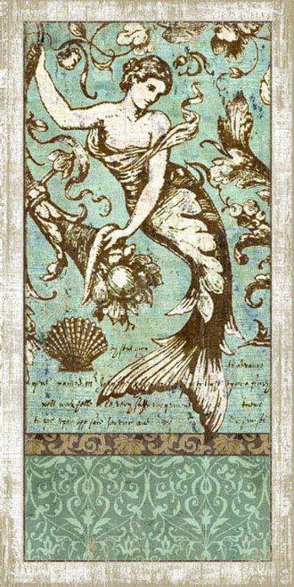 Driftwood Mermaid 1, Red Horse Signs, wall art, printed on distressed wood, artist Suzanne Nicoll