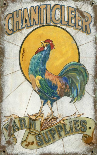 Chanticleer, Red Horse Signs, vintage wall art, a colorful rooster crows his heart out to the morning sun, farm supplies, all printed on distressed wood, Made in America