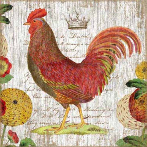 Rooster Red, Red Horse Signs, vintage wall art, colorful chicken print on distressed wood, white background and flowers. The wood panels are tongue and groove slats of hemlock, fir, or alder