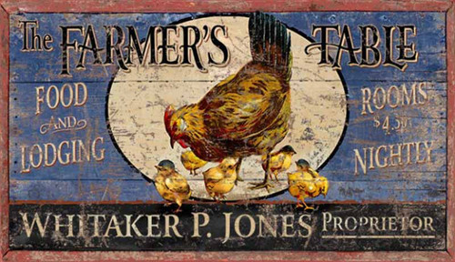 Farmers Table, Red Horse Signs, vintage wall art, hen and chickens, blue and yellow background, printed on distressed wood, Made in America