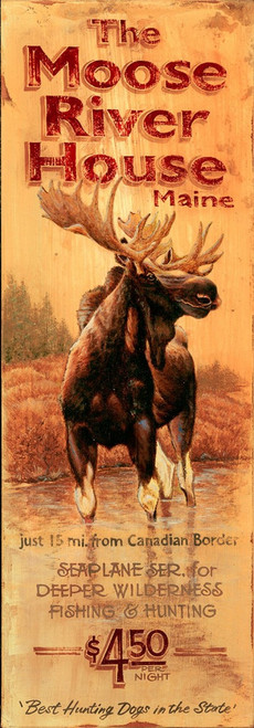 Moose River House, Red Horse Signs, vintage wall art, majestic bull moose standing in a Maine river, on yellow background, printed on distressed wood, Made in America