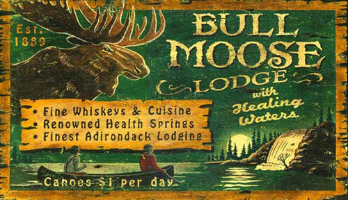 Bull Moose Lodge, Red Horse Signs, vintage wall art, majestic bull moose, waterfalls, canoe, on deep green background, printed on distressed wood, Made in America