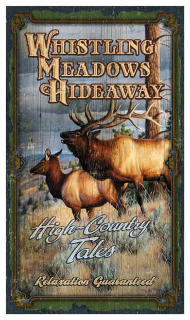 Whistling Meadows, Red Horse Signs, vintage wall art, magnificent elk standing in a grove of pine trees, overlooking a river valley, mounted on distressed wood, Made in America