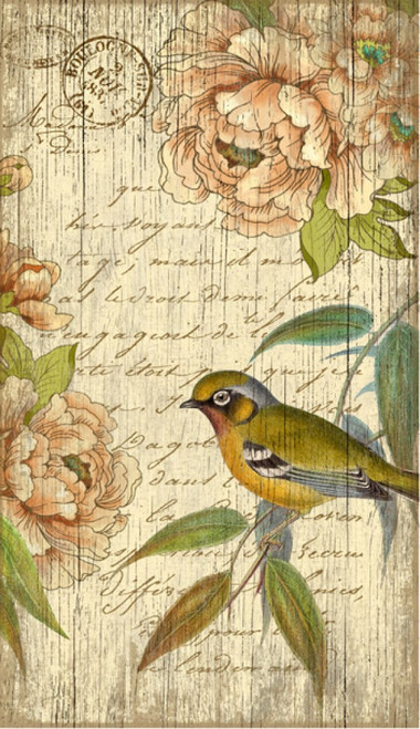 Right Bird, Red Horse Signs, wall art, artist Suzanne Nicoll, vintage poster of a bird and English roses, with French words, Made in America