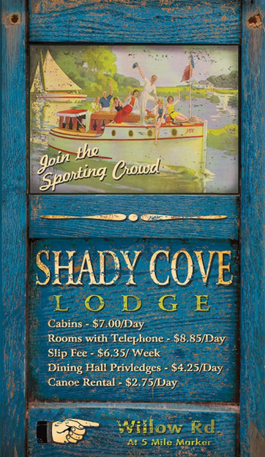Shady Cove, Red Horse Signs, wall art, vintage image of cabin cruiser out for a tour of the lake, distressed wood, Made in America