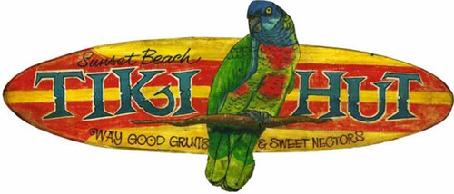 Tiki Hut, Red Horse Signs, vintage wall art, cut out, a green and red parrot on a yellow and red surf board, advertising Sunset Beach and way good grunts and sweet nectors, printed on a distressed wood board. Perfect for the bar at the lake and the cabana