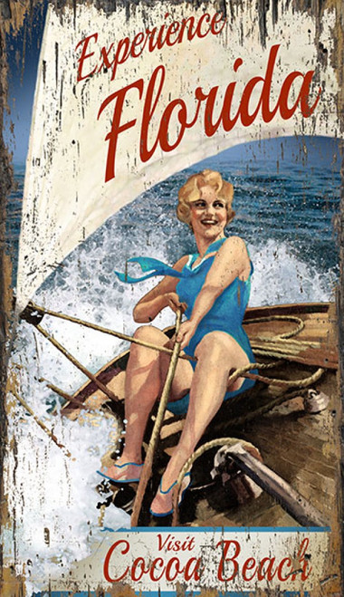 Experience Florida, Red Horse Signs, wall art, vintage print of a blonde babe in a blue swimsuit, show how to handle a skiff, printed on distressed wood, naturally, Made in America