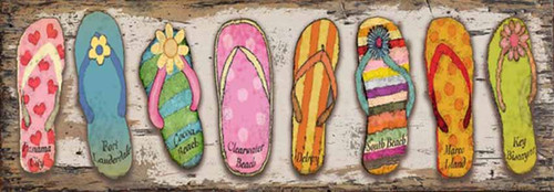 Florida Flops, Red horse Signs, wall art, vintage poster of flip flops with the names of Florida beaches printed on distressed wood, Made in America