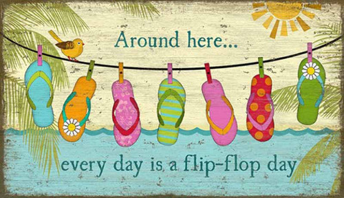 Hanging Flops, Red horse Signs, wall art, vintage poster of flip flops hanging on a clothes line, a bird, the water and a sunset, printed on distressed wood, Made in America. Around here,every day is a flip flop day.
