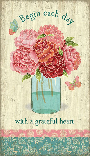 Mason Jar, Red Horse Signs, vintage wall art, glass mason jar full of flowering pink peonies and butterflies, quote, begin each day with a grateful heart, print mounted on distressed wood, Made in America
