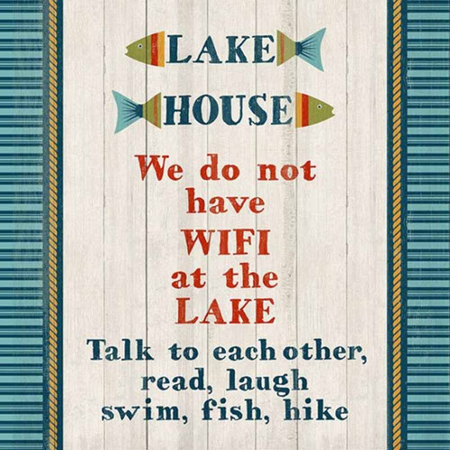 Lake Wifi, wall art, Red Horse Signs, lake house rules, no wifi, talk instead, print on distressed wood, Made in America