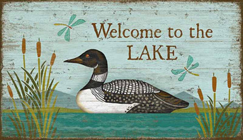 Loon Welcome, Red Horse Signs, wall art, artist Suzanne Nicoll, image of solitary loon on a lake amid cattails and dragonflies, print on distressed wood panels, Made in America