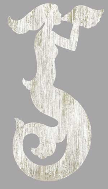 Mermaid Silhouette White Left, Red Horse Signs, wall art, cut-out, artist Suzanne Nicoll, mermaid blowing into a conch shell, image printed on distressed wood, made in America
