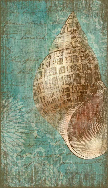 Bermuda II, Red Horse Signs, wall art, artist Suzanne Nicoll, beautiful conch shell on turquoise background, image printed on distressed wood, Made in America
