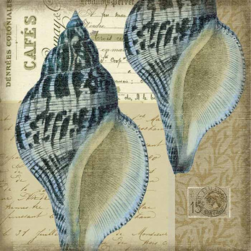 Indigo 3 Nautilus, Red Horse Signs, wall art, artist Suzanne Nicoll, image of a pair of exotic sea shells in indigo blue, printed on wood, Made in America