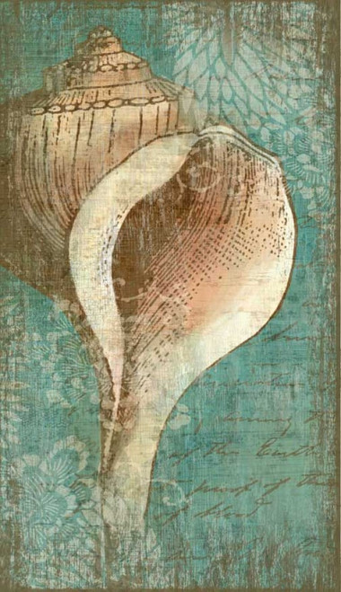 Bermuda I, Red Horse Signs, wall art, artist Suzanne Nicoll, beautiful conch shell on turquoise background, image printed on distressed wood, Made in America