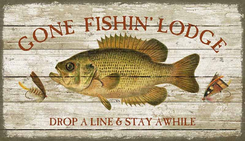 Gone Fishing, Red Horse Signs, wall art, artist Suzanne Nicoll, vintage Gone Fishing Lodge image with a bass fish and lures printed on a distressed wood panel with knots and other natural characteristics, Made in America