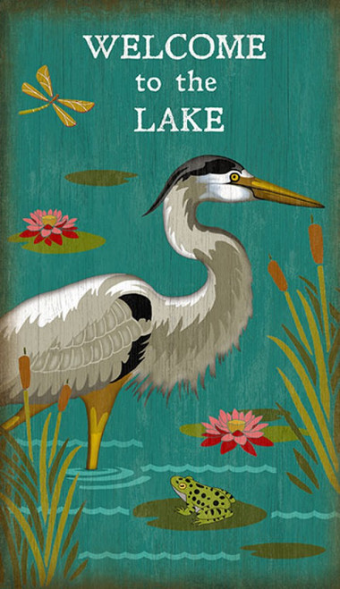 Heron Welcome, Red Horse Signs, wall art, artist Suzanne Nicoll, white heron with black markings, blue lake, cattails, dragonfly and frog, printed on distressed wood, Made in America