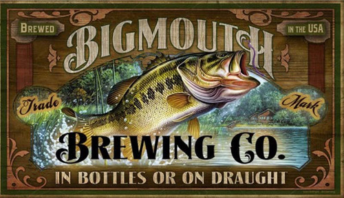 Big Mouth, Red Horse Signs, wall art, vintage image of Bigmouth Bass leaping in the lake, mounted on distressed wood panels, Made in USA
