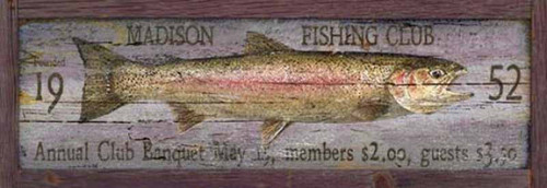 Fishing Club, Red Horse Signs, wall art, image of rainbow trout with customizable words, printed directly to a distressed wood panel made from 1/2 inch tongue and groove slats, Made in America