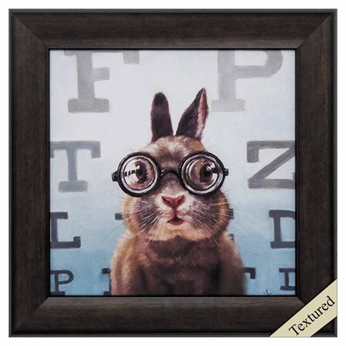 Four Eyes, Propac Images, framed art,  print of a rabbit getting an eye examination