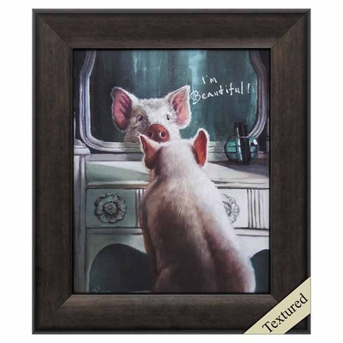 "Affirmation, Propac Images, framed art, white female pig sits in front of a vanity mirror with the words written  ""you are beautiful"""
